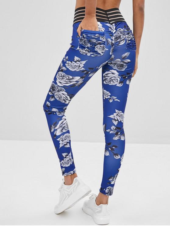 Leggings De Bolsillo Con Fruncido Floral - Azul L