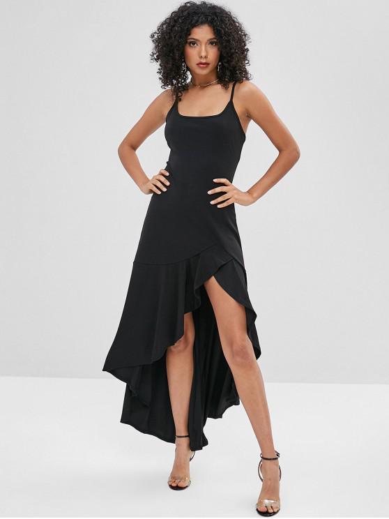 hot Asymmetric Cami Flounce Long Dress - BLACK L