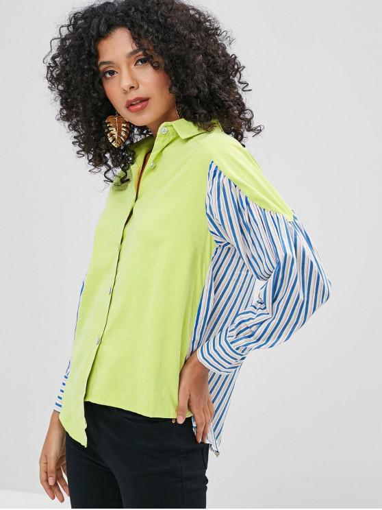 قميص مقلم غير متناظرة - الشاي الأخضر M