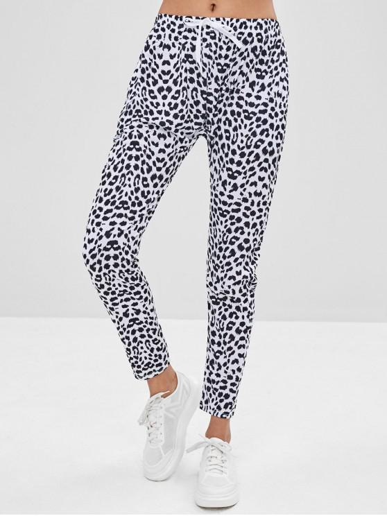 ladies Leopard Drawstring Pants - LEOPARD M