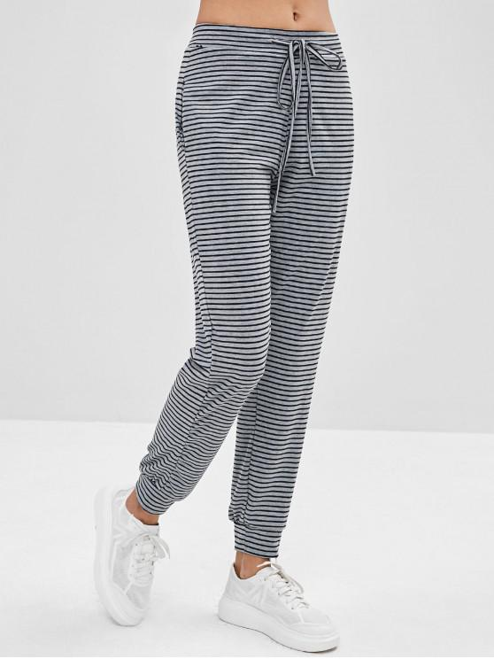 chic Pocket Striped Jogger Pants - GRAY S