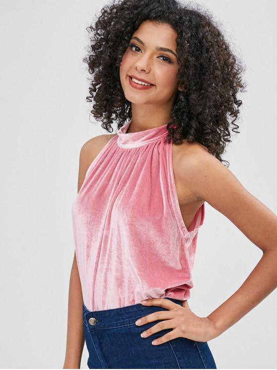 Tied Back Velvet Tank Top - Rosado S