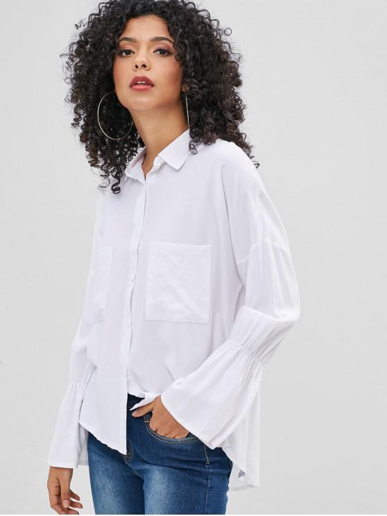 buy Bell Sleeve Pocket High Low Shirt - WHITE XL