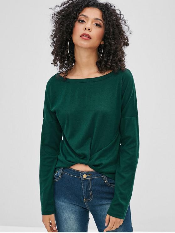 Caer hombro manga larga camiseta - Verde Oscuro M