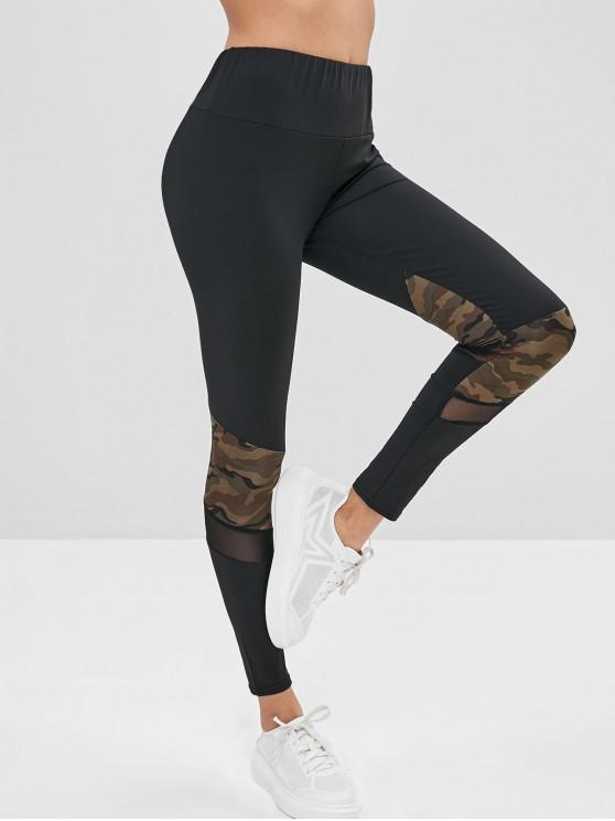 affordable Camo Mesh Panel Leggings - BLACK S