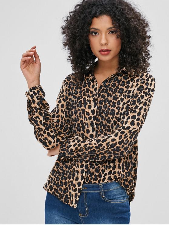 new Leopard Button Up Casual Shirt - LEOPARD L