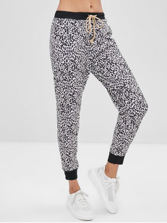 sale Leopard Drawstring Jogger Pants - LEOPARD M
