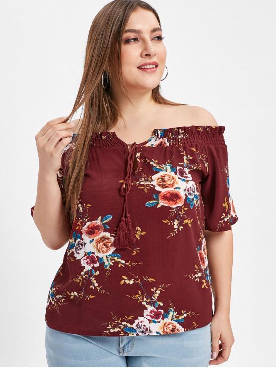 Floral más el tamaño de la blusa del hombro - Vino Tinto 4X