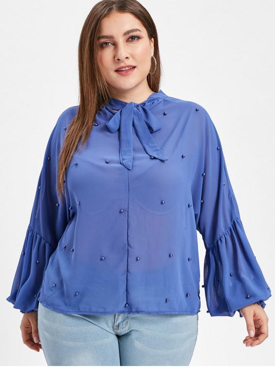 women's Beaded Bow Tie Plus Size Blouse - BLUE 2X
