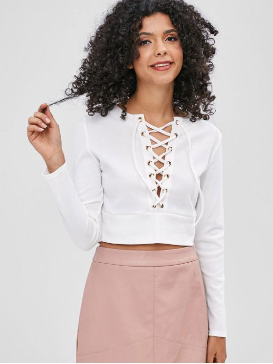 women Grommets Lace-up Ribbed Top - WHITE M