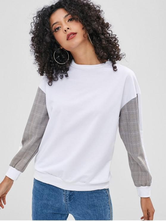 unique Plaid Panel Sweatshirt - WHITE M