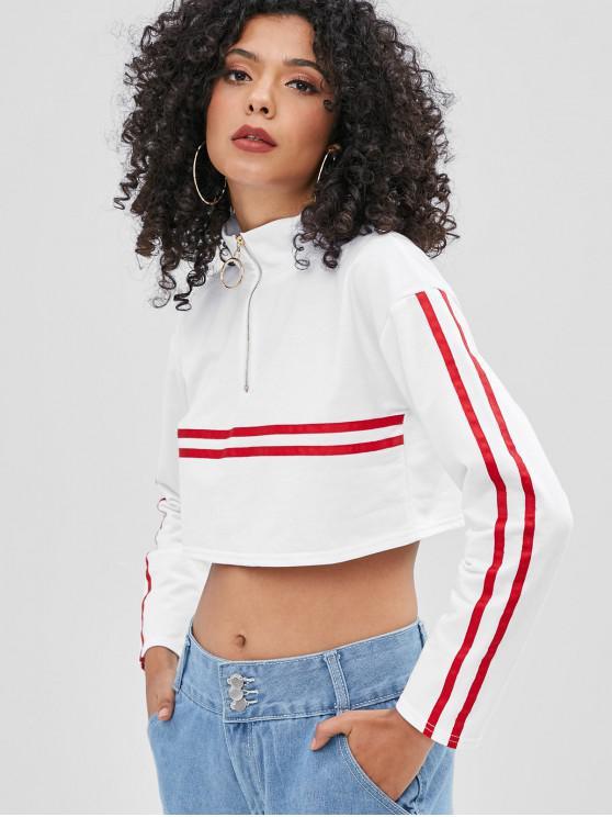 lady Half-zip Ribbon Striped Cropped Sweatshirt - WHITE L