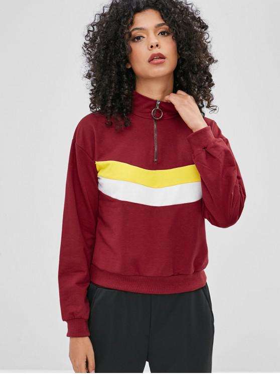 latest O-ring Half-zip Color Block Hoodie - RED WINE L