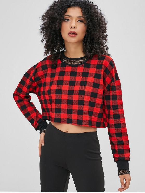 new Mesh Inset Plaid Cropped Sweatshirt - MULTI-A M