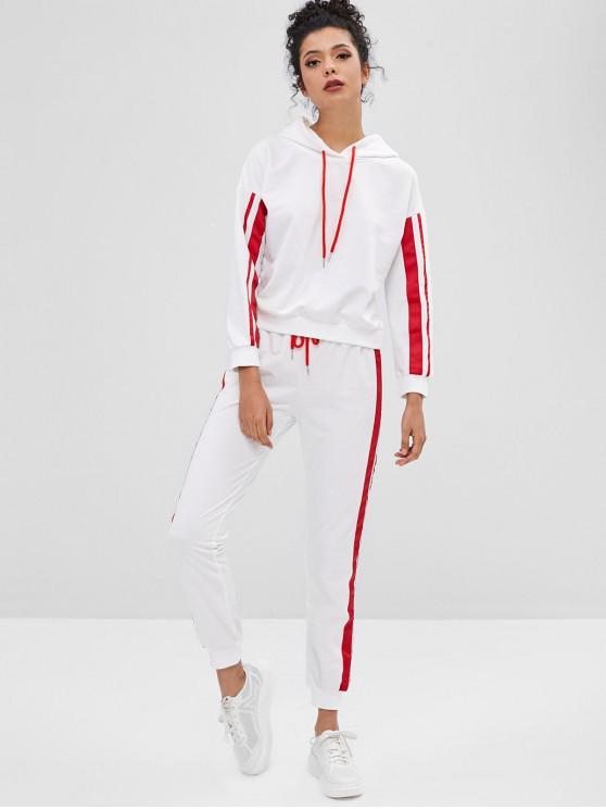 Moletom com capuz listrado e conjunto de calças de corrida - Branco XL