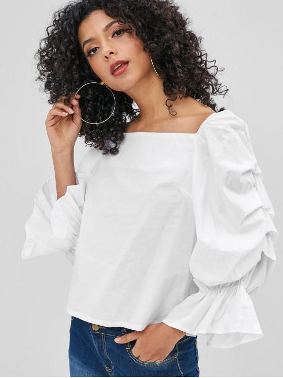 women's Pleated Square Collar Blouse - WHITE XL
