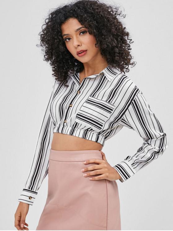 women's Striped Cropped Shirt - WHITE S