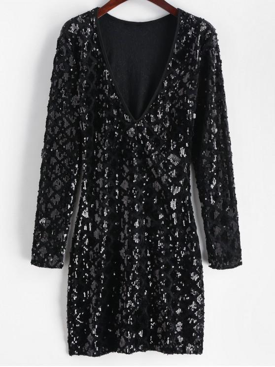 latest Sequined Plunging Mini Dress - BLACK M