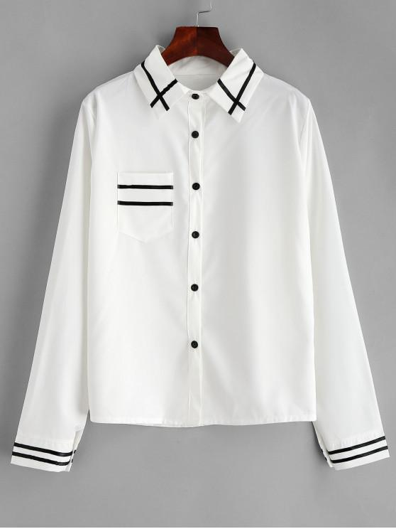 Camisa de panel de rayas de bolsillo delantero - Blanco XL