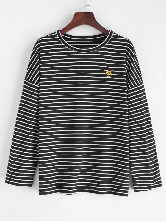 lady Slit Striped Smile Embroidered Tee - BLACK L
