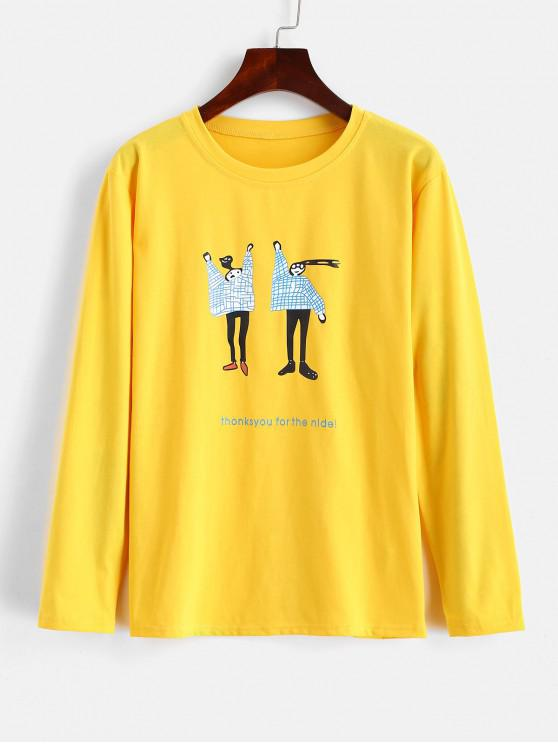 chic Letter Figure Graphic Cute Tee - RUBBER DUCKY YELLOW 2XL