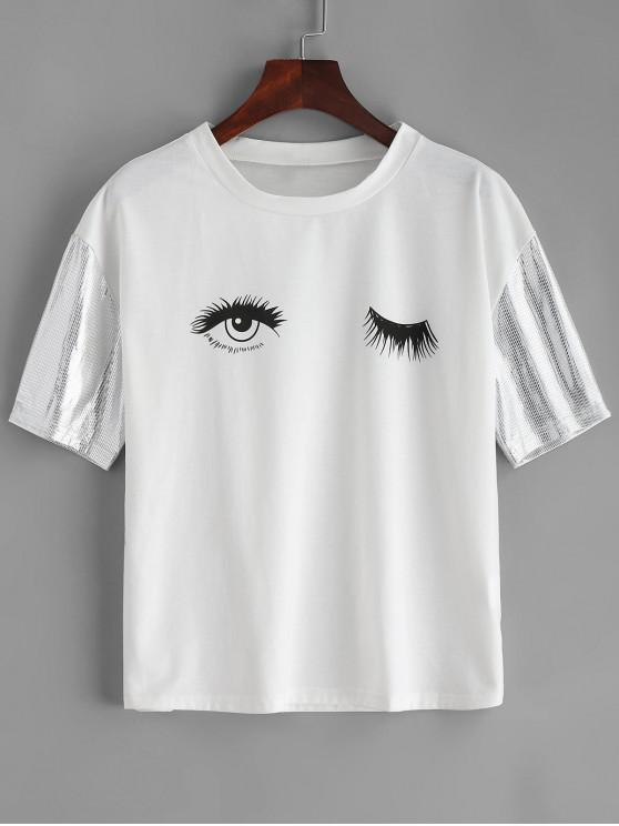 Lantejoulas mangas olhos gráfico Tee - Branco M