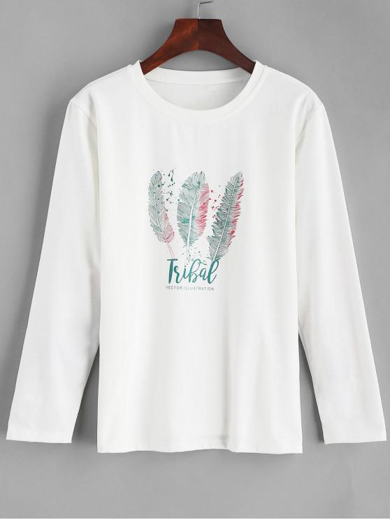 new Letter Feather Graphic Tee - MILK WHITE L