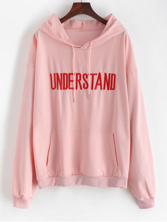 chic Front Pocket Understand Embroidered Hoodie - LIGHT PINK L