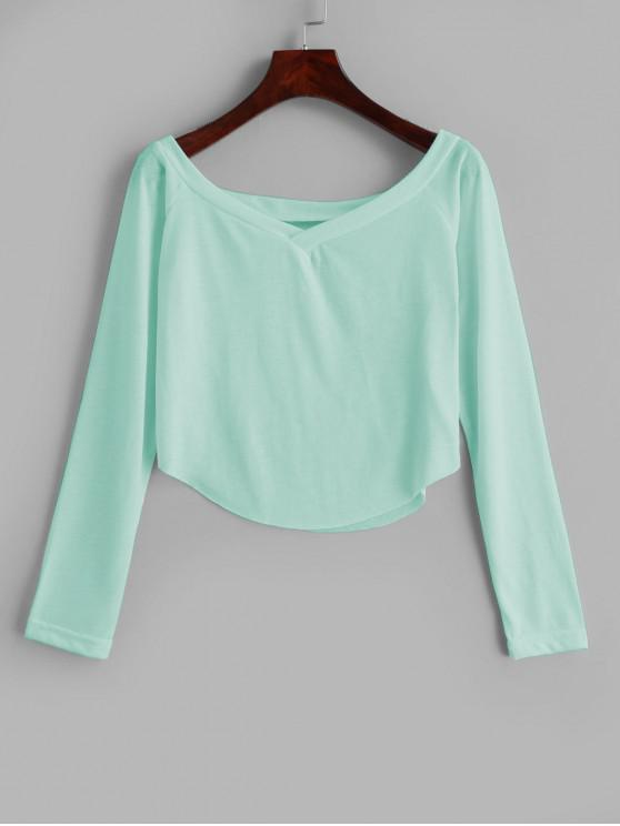 outfit Raw Hem V Neck Tee - MINT GREEN L