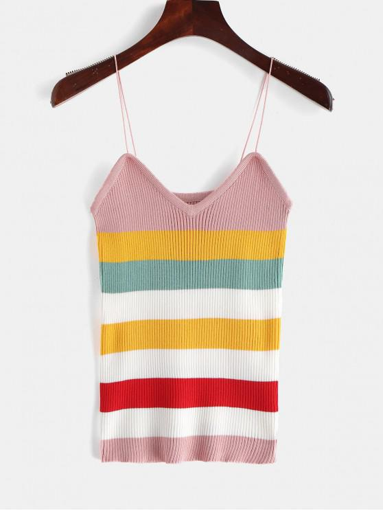 7f4107e588 18% OFF] 2019 Knitted Cami Striped Tank Top In MULTI | ZAFUL