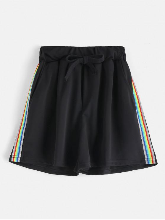 affordable Colorful Striped Drawstring Shorts - BLACK M