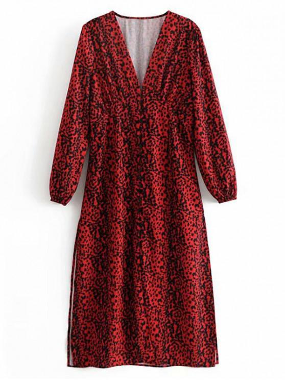 shop Empire Waist Leopard Print Midi Dress - MULTI S