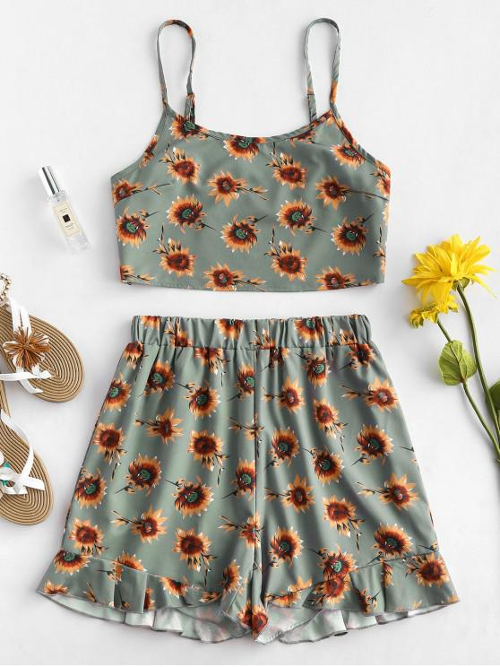 outfits ZAFUL Sunflower Top and Shorts Two Piece Set - MULTI M