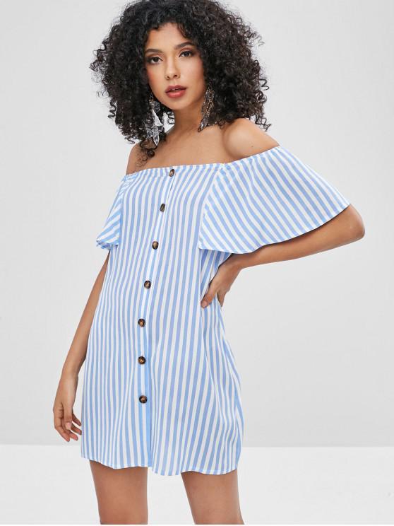 ZAFUL Button Up Stripes fuera del vestido del hombro - Azul Claro M