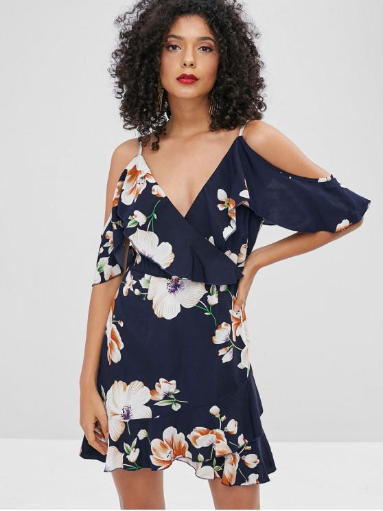 hot ZAFUL Floral Ruffles Cold Shoulder Dress - MULTI M