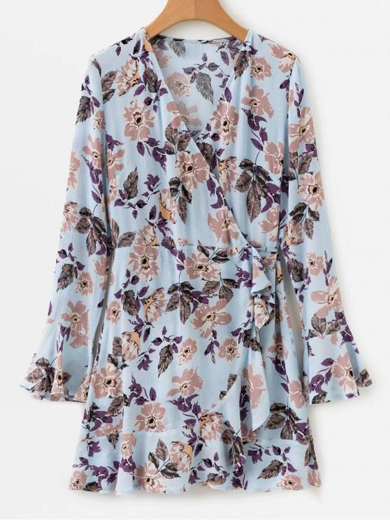lady Floral Print Ruffled Wrap Tea Mini Dress - MULTI M