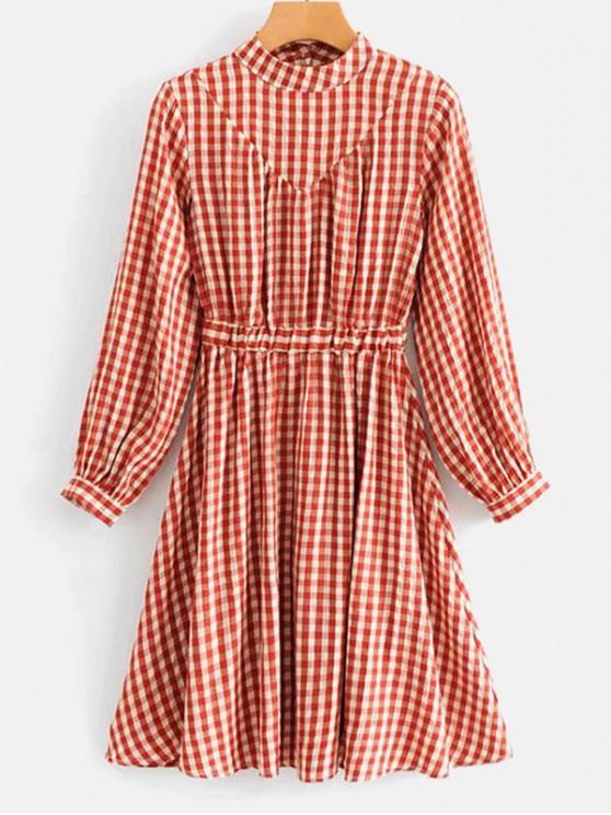 sale Gringham Print Mock Neck A Line Dress - CHERRY RED S