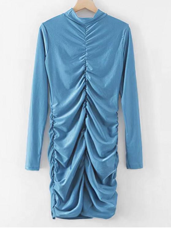 Soirée De Lierre PlisséeBleu Moulante M Brillante Robe P0NXwk8nO
