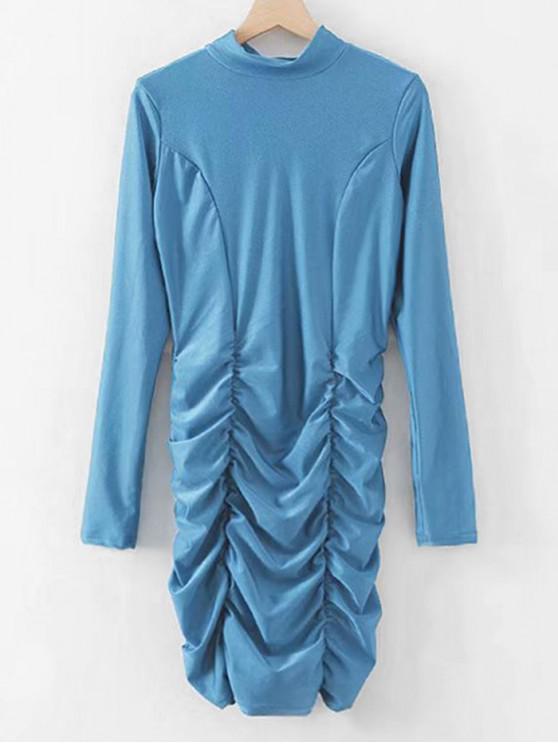 Glänzendes, gerafftes, figurbetontes Partykleid - Blauer Efeu M