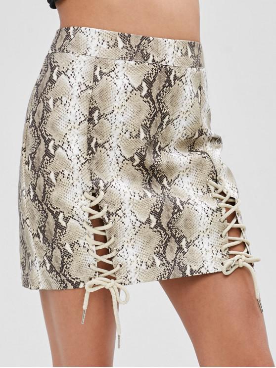 fashion Lace Up Snakeskin Bodycon Skirt - MULTI M
