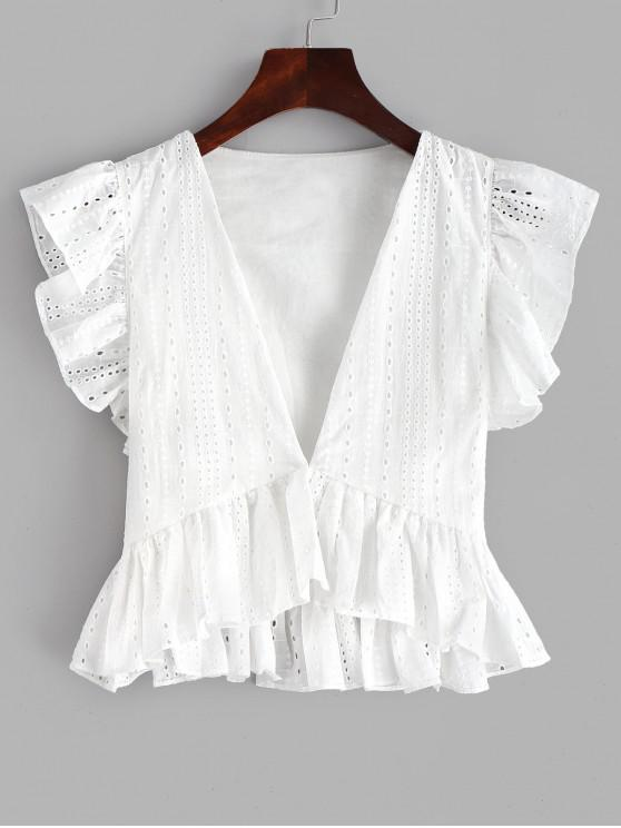 e39e568b53d7d2 41% OFF] [HOT] 2019 Eyelet Ruffle Plunging Blouse In WHITE | ZAFUL ...