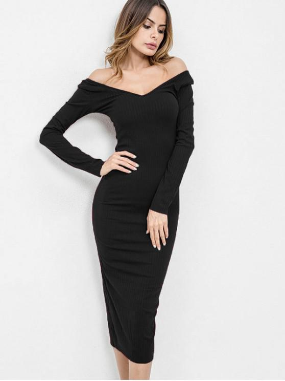 ce4b74f9ba49 40% OFF  2019 Off Shoulder Long Sleeves Knit Dress In BLACK