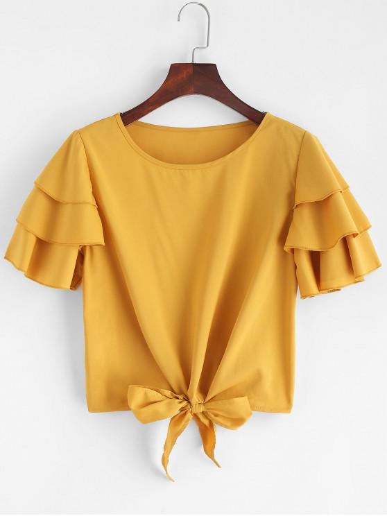 new Layered Ruffles Tie Blouse - YELLOW M