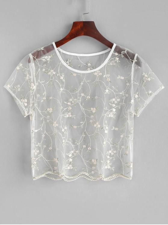 ladies ZAFUL Floral Embroidered Sheer Tulle Crop Top - TRANSPARENT S