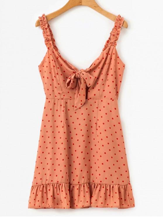 sale Polka Dot Chiffon Tie Front Mini Dress - MULTI S