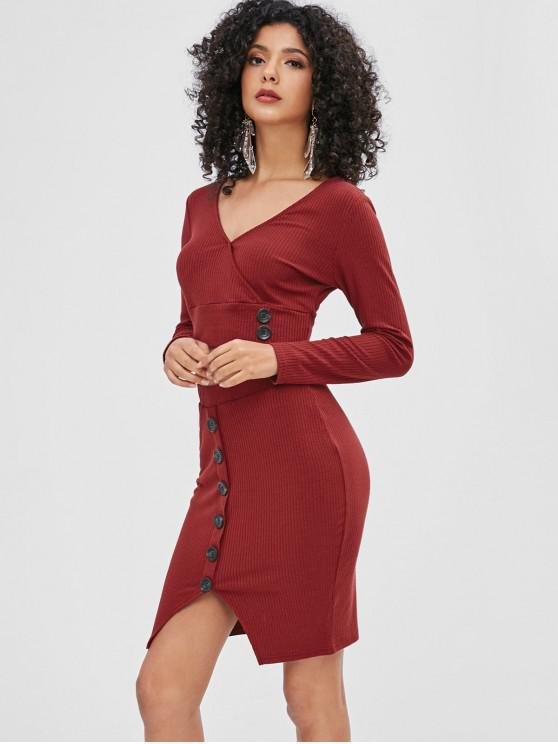 women ZAFUL Buttoned Crop Knit Tee and Skirt Set - RED WINE L