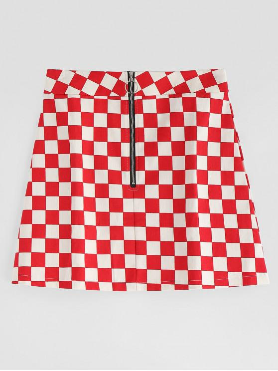 trendy Checkerboard Print A Line Mini Skirt - MULTI M