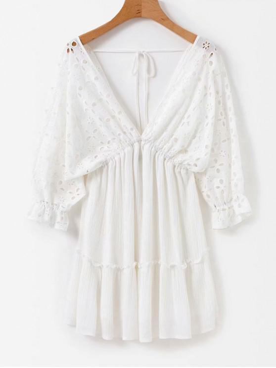 outfits Anglaise Broderie Empire Waist Mini Dress - WHITE S