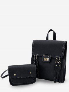 2Pcs Solid Color Tassels Embellished Backpack - Black
