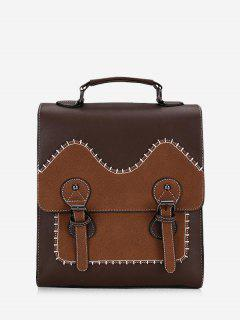 Retro PU Leather Contract Color Backpack - Deep Brown